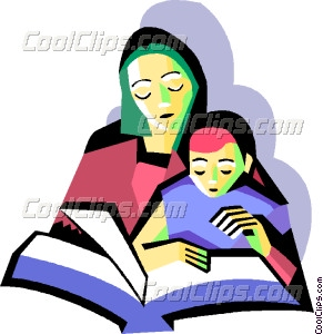 Mother with child reading Vector Clip art.