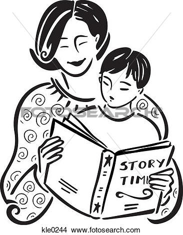 Stock Illustration of adult and child reading ubr0015.