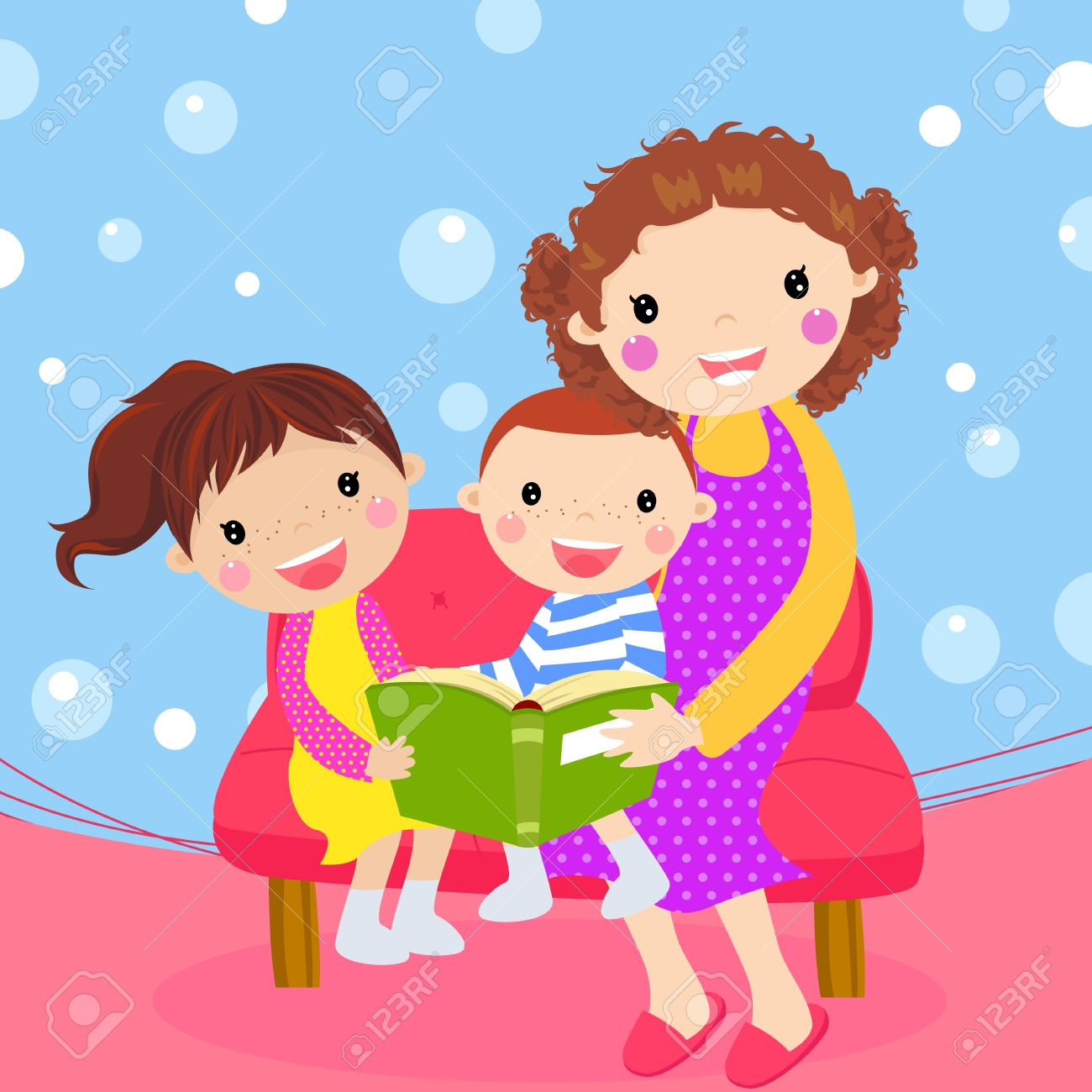 Young Mother Reading Book To Her Children Royalty Free Cliparts.