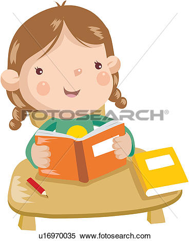 Clipart of daughter, child, education, book, reading, mother.