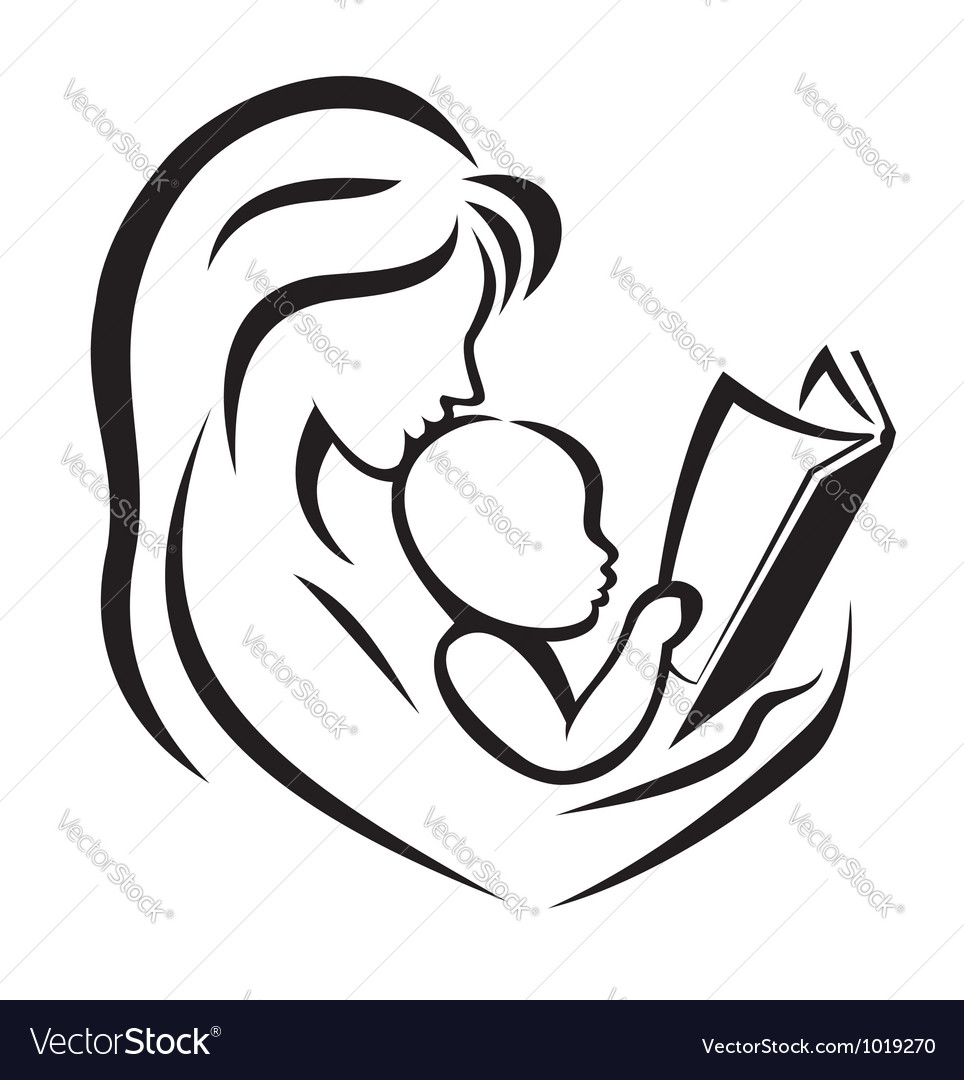 Mother and child reading the book Royalty Free Vector Image.