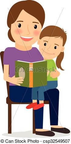 Vector Clipart of Mother and child reading book. Family time and.
