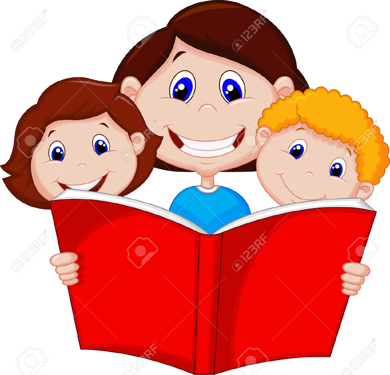 Cartoon Mother Reading Book To Her Children Royalty Free Cliparts.