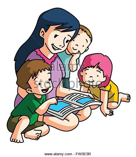 Illustration Boy Reading Book Together Stock Photos & Illustration.