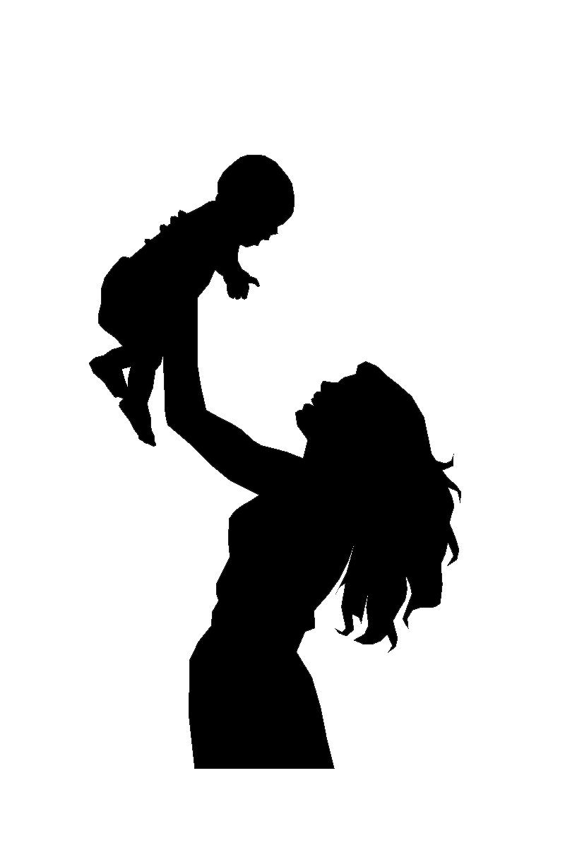 Mother And Child Silhouette Clip Art N2 free image.