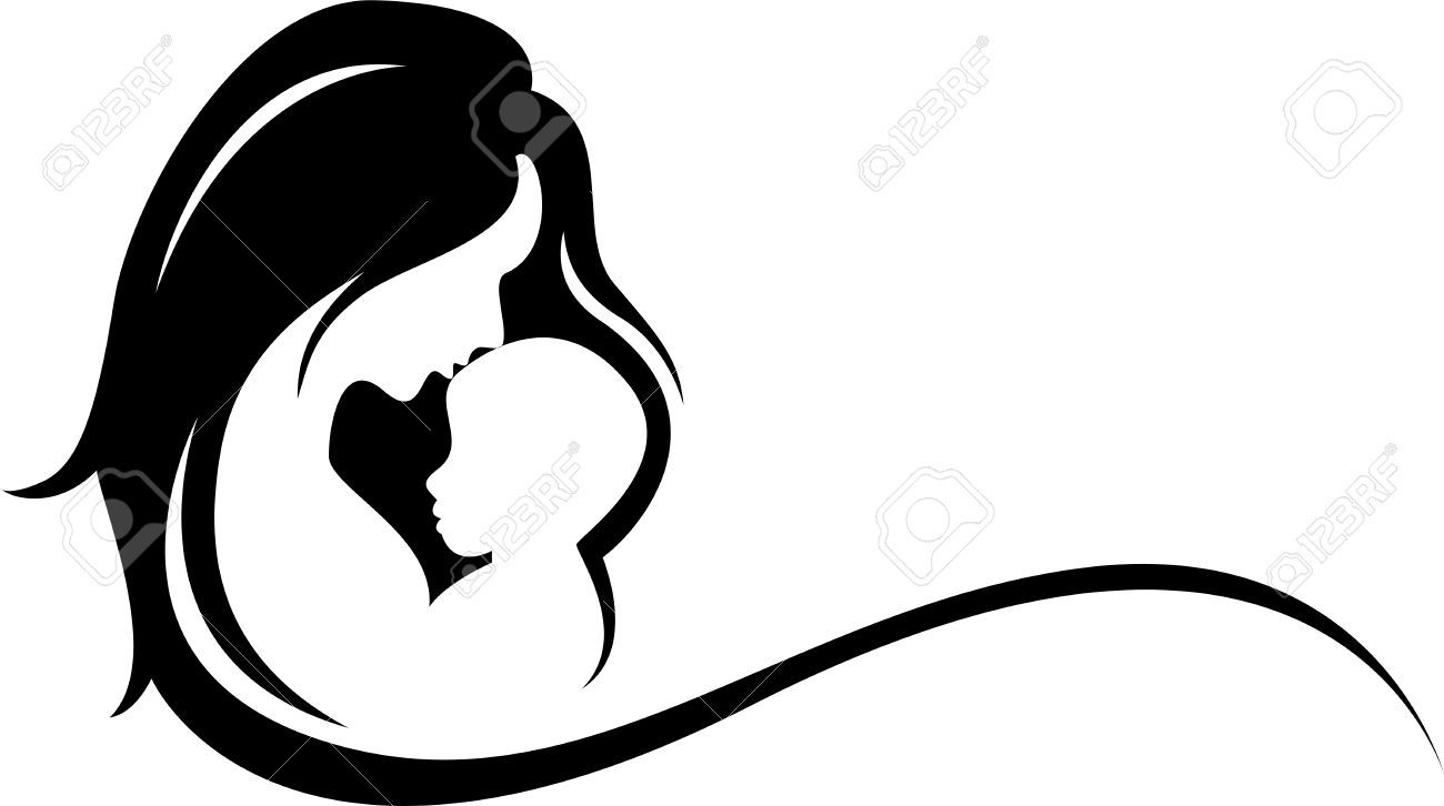 Mom and child silhouette clipart.