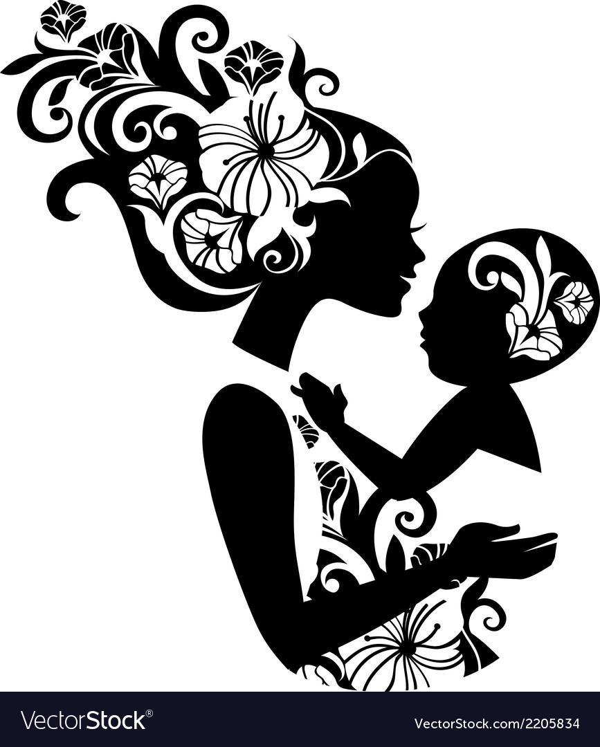 Beautiful mother silhouette with baby in a sling.