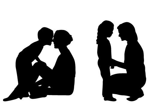 Innocent Loving Mom and Child Silhouette Free Download.