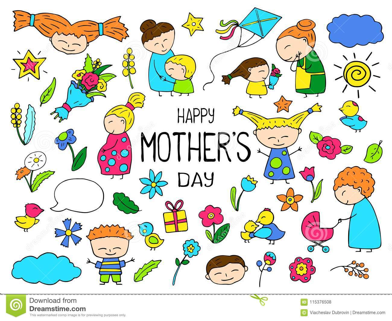 Happy Mother Day Colorful Vector Clipart. Mom And Child.
