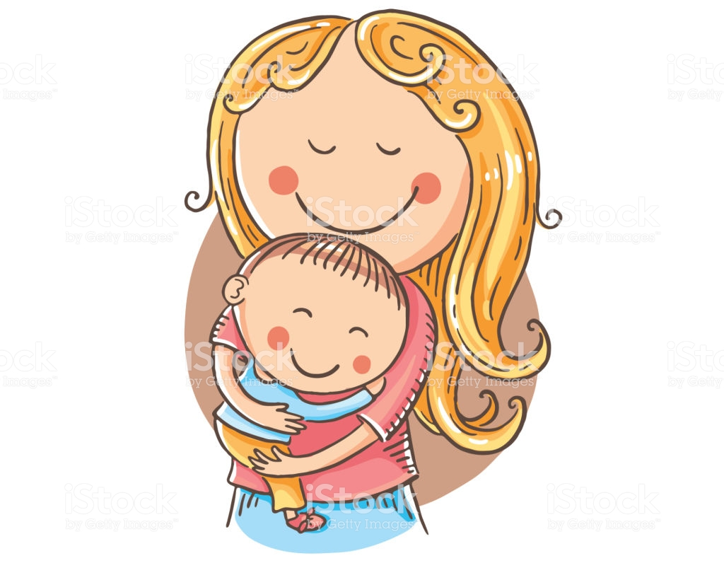 Happy Cartoon Mother With Children Vector Clipart Stock.