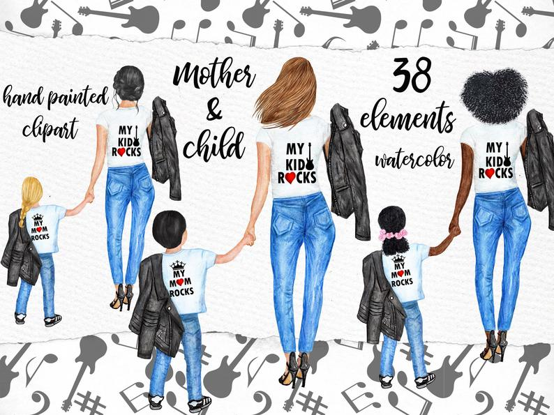 Mother and child clipart: