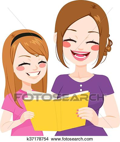 Mother Daughter Reading Clipart.