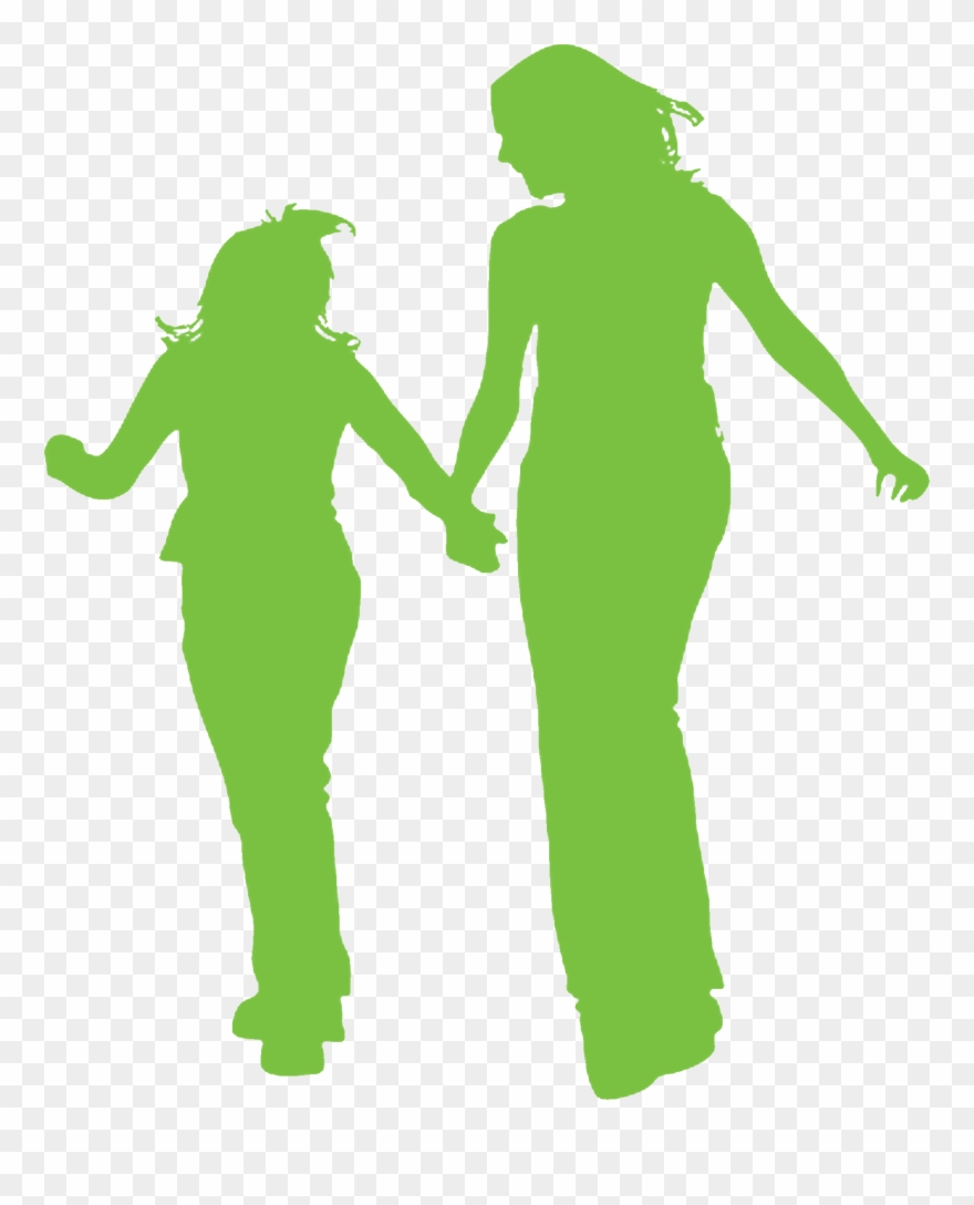Silhouette Of Mother And Daughter Walking And Talking.