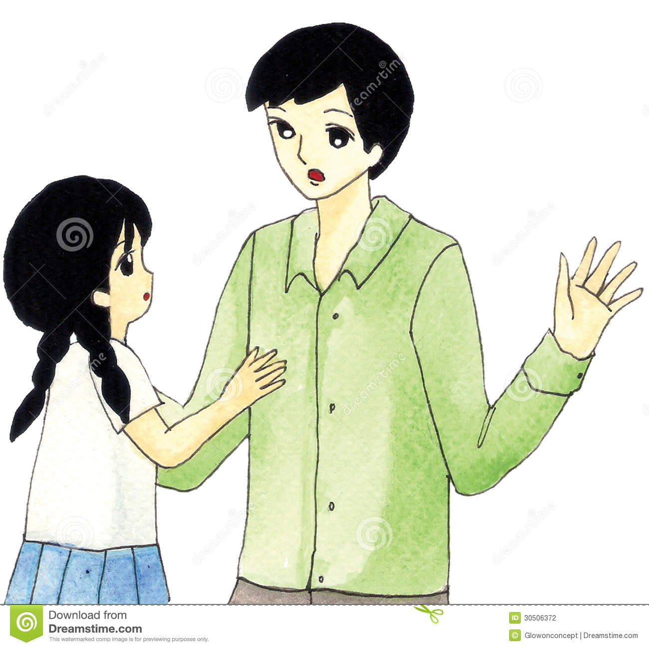 Father And Daughter Talking Clipart.