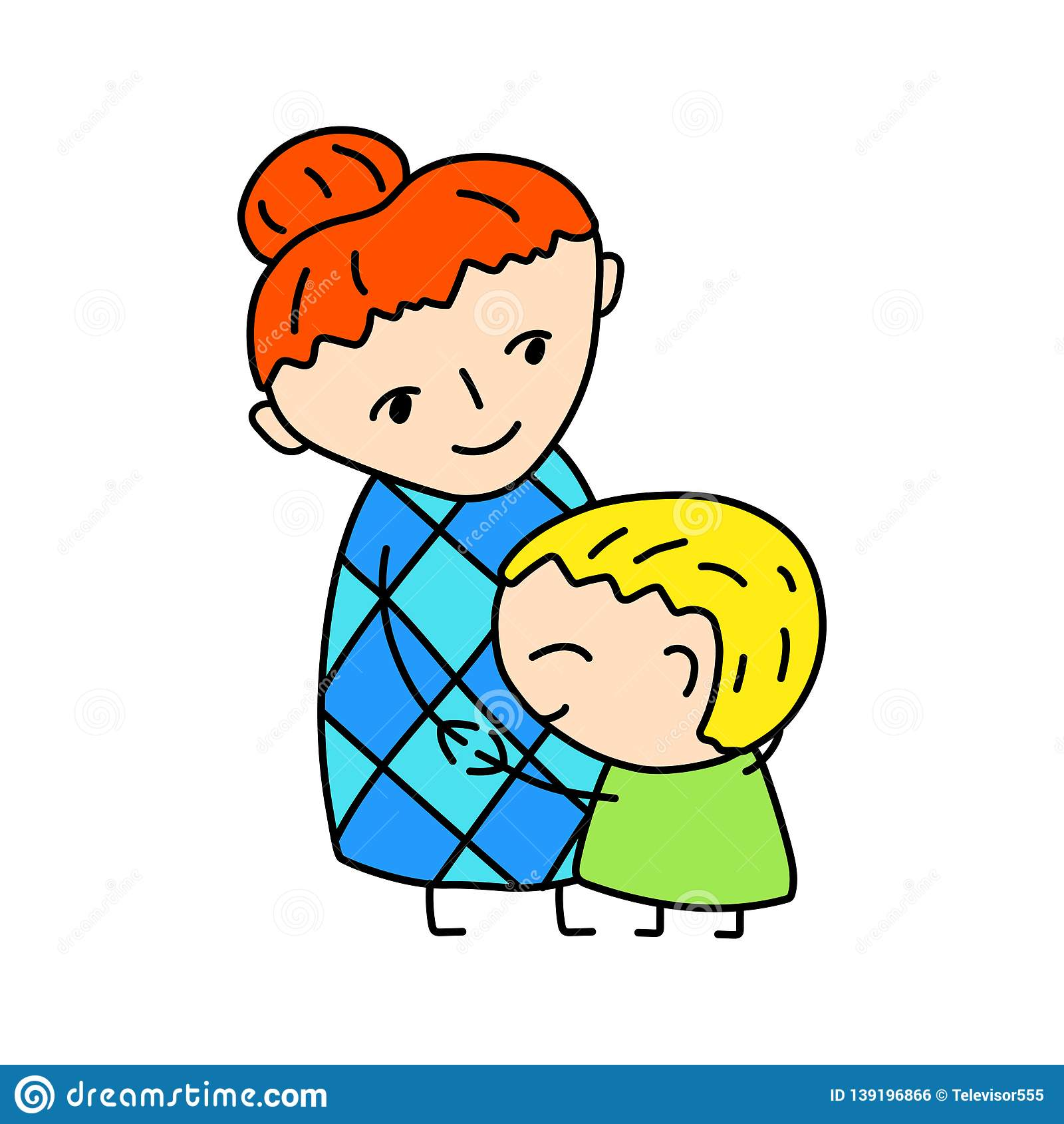 Happy Mother With Son Simple Vector Illustration On White.
