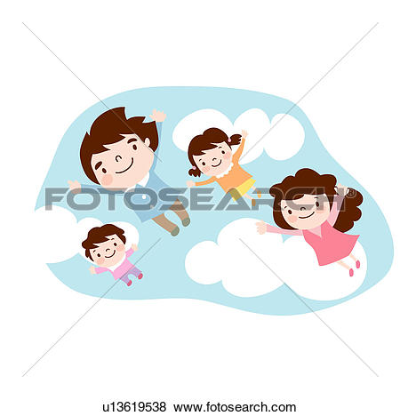 Clip Art of mother, flying, extended arms, daughter, father.