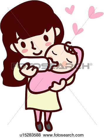Clipart of baby, hugging, motherhood, love, mother u15344372.