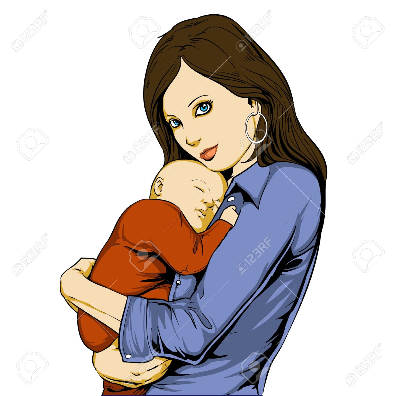 Mother carrying child clipart.