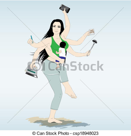 Vector Illustration of Multitasking super mother with six arms.