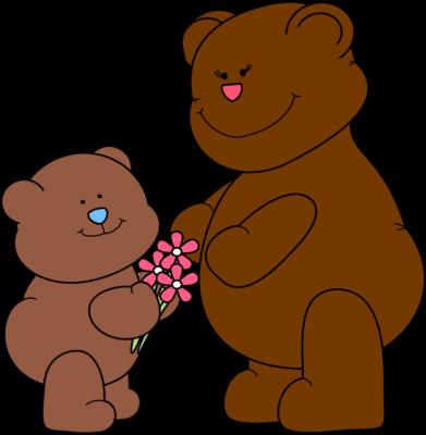 Cute brown mother bear clipart.