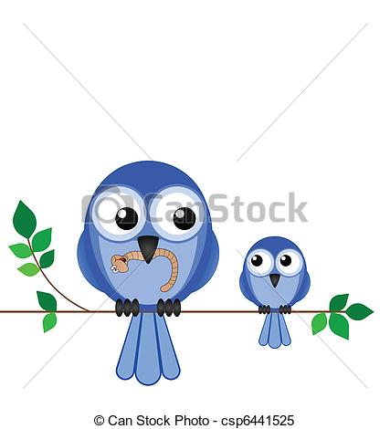 Clipart Vector of Mother bird feeding her young with a worm with.