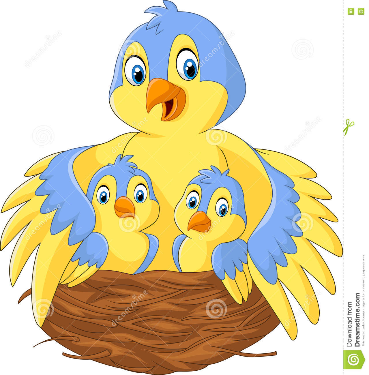 Mother Bird With Her Two Babies In The Nest Stock Vector.