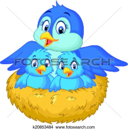 Clipart of Cartoon Mother bird with her two ba k20853484.