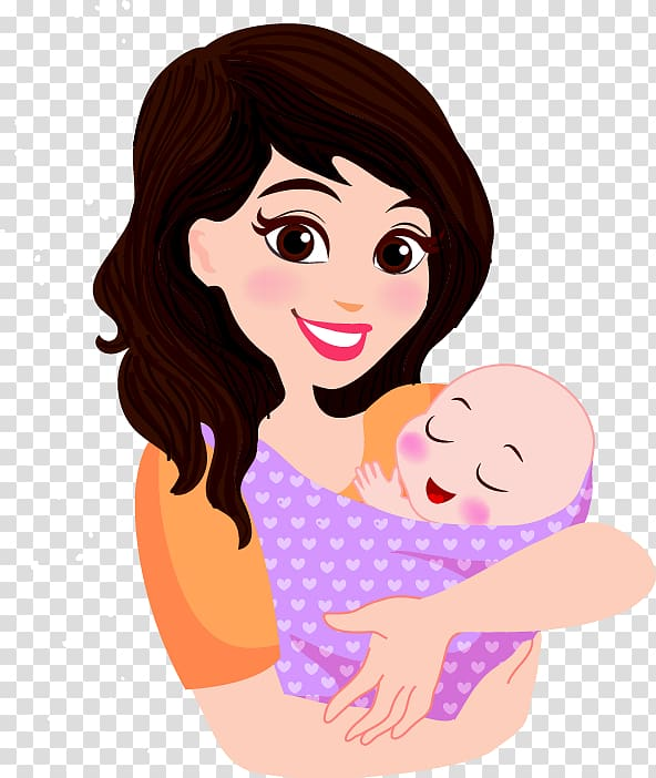 Woman carrying baby illustration, Mother Infant Cartoon.