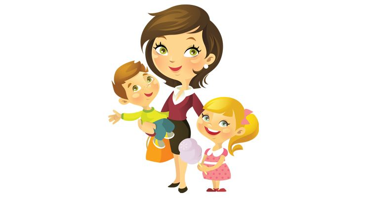 Gallery For > Mother With Kids Cartoon.