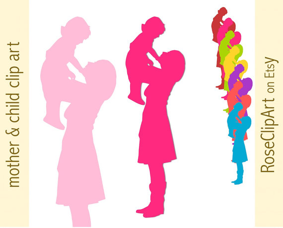 mother and child clipart.