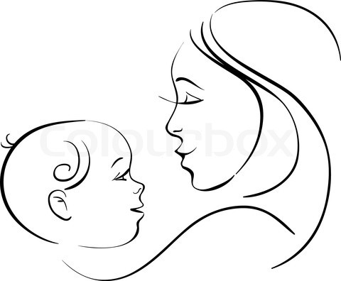 Stock vector of 'Mother and baby'.
