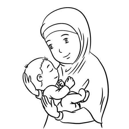 Muslim mother clipart black and white » Clipart Portal.