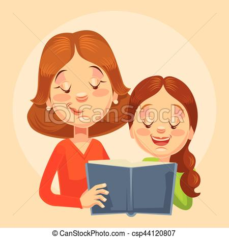 Vector Clipart of Mother and daughter characters reading. Vector.