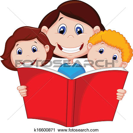 Clipart of Cartoon Mother reading book to her k16600871.