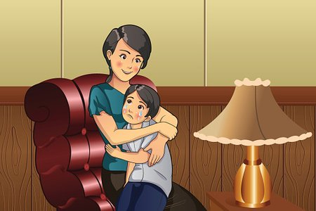 Mother comforting her kid Clipart Image.
