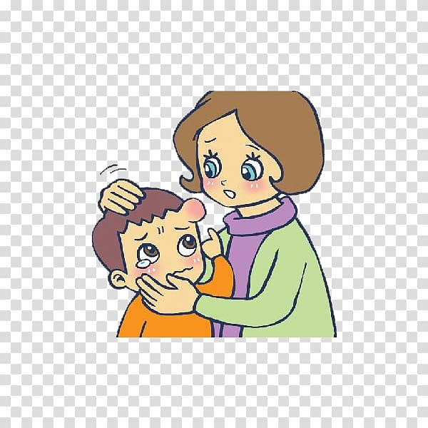 Cartoon Head , Mother comforted the child with a headache.