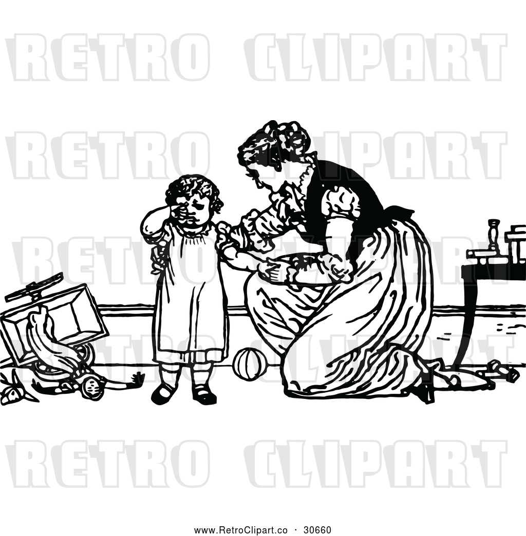 Vector Clip Art of Retro Mother Comforting a Fussy Child by.