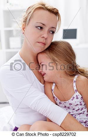 Stock Photo of Mother comforting her child.