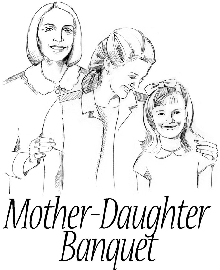 Daughter and mother clipart.