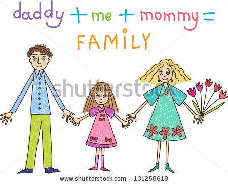 Kids Drawing Family Mother Father Daughter Stock Vector 131258618.