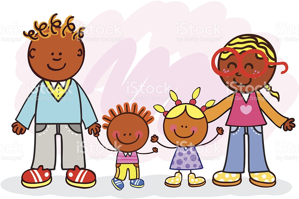 Black Family With Father Mother Daughter Son Cartoon Illustration.