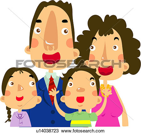 Clipart of mother, happiness, love, daughter, father u14038723.