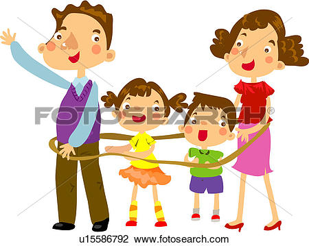 Clipart of mother, exciting, excitement, daughter, father.