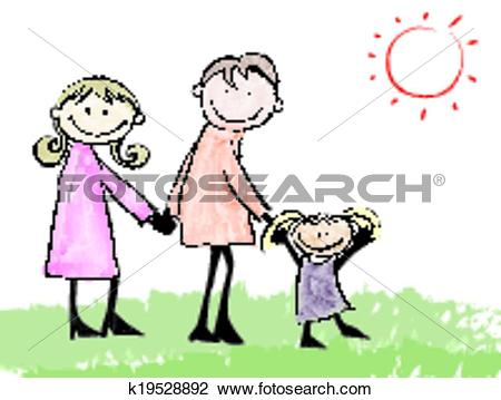 Clipart of Father, mother, daughter and cat cartoon illustration.