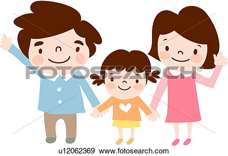 Clip Art of baby, mother, girl, daughter, child, father u12062369.