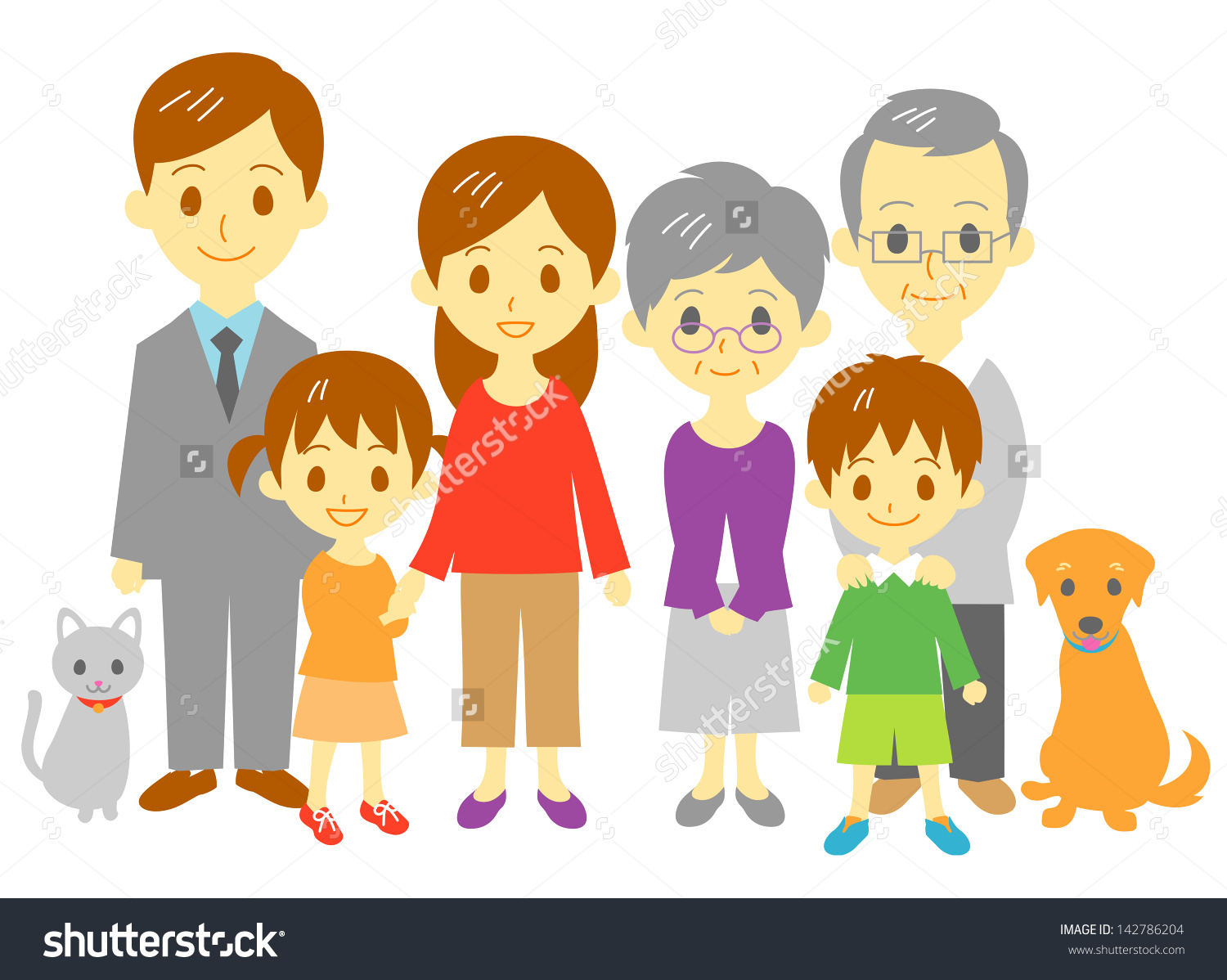 Family Mother Father Daughter Son Grand Stock Vector 142786204.