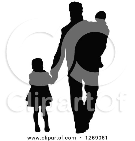 Clipart of a Black Silhouette of a Son Holding Hands and Walking.