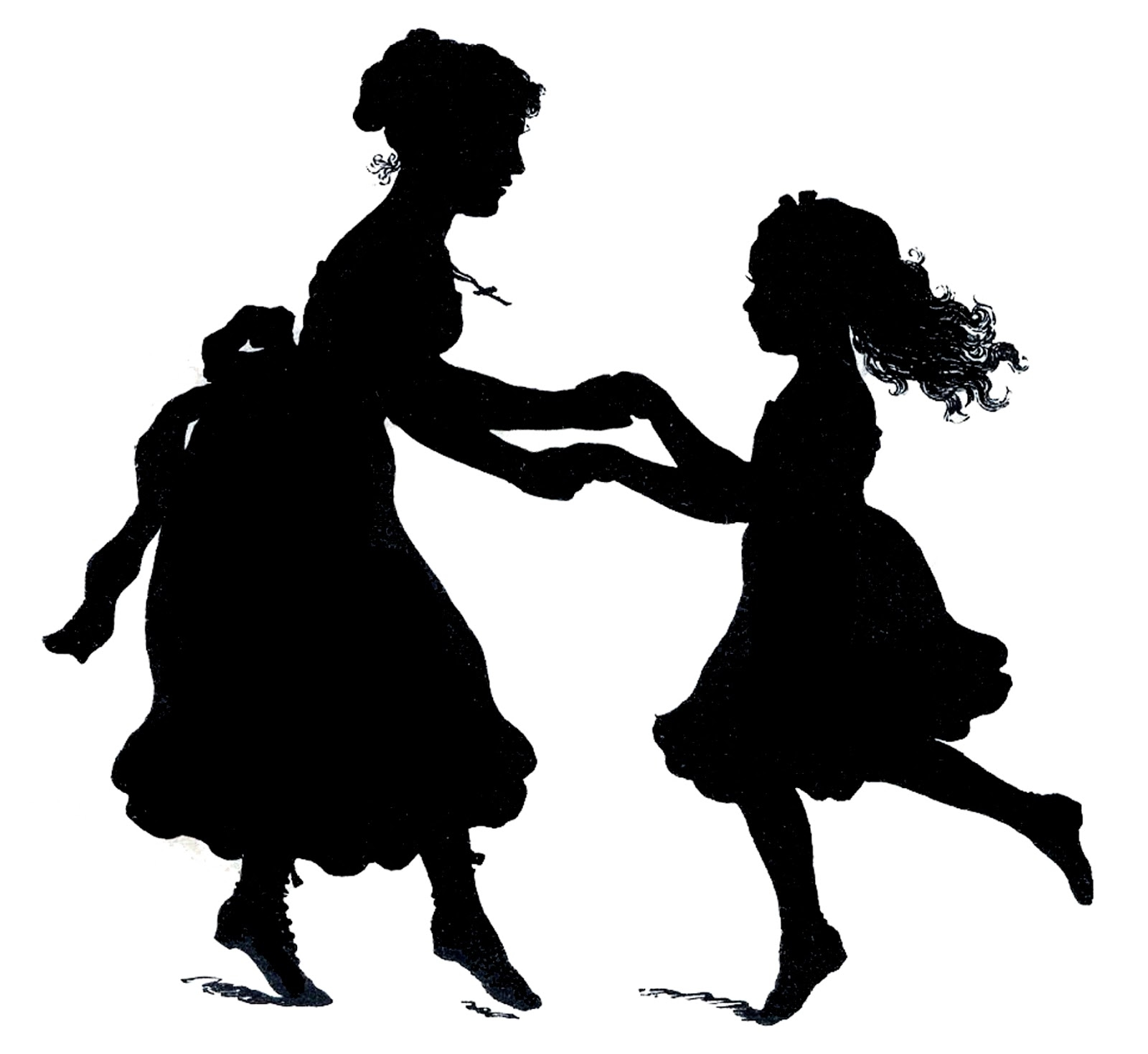 Mother and child silhouette vector.