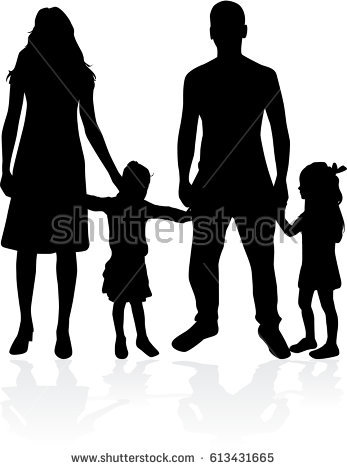 Family Silhouette Stock Images, Royalty.