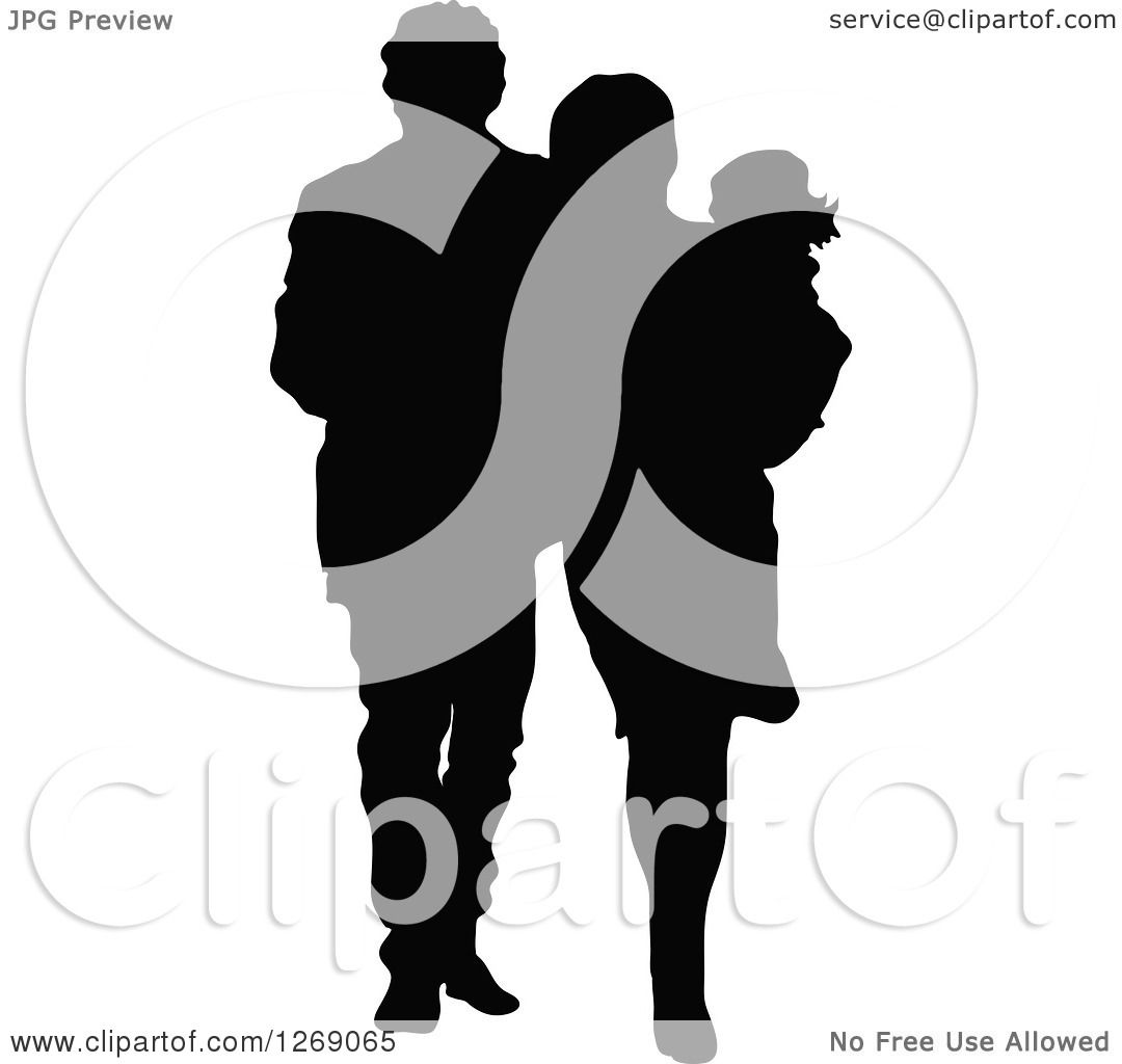 Clipart of a Black Silhouette of a Mother and Father Walking and.